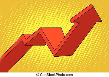 up arrow chart sales, pop art retro vector illustration