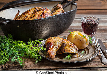 Roasted chicken and jacket potato with dill