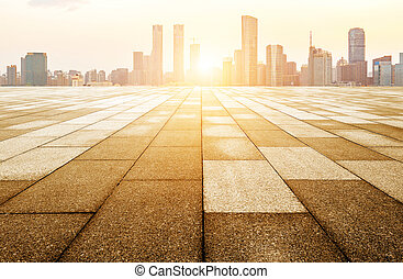 Floor tiles and urban landscape - Panoramic skyline and...