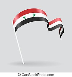Syrian wavy flag. Vector illustration. - Syrian pin icon...