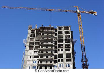 建築物, 起重機, 建設, 在下面