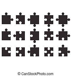 jigsaw icon, silhouette