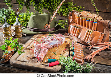 Venison on table of the hunter
