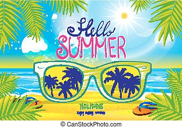 Vector summer blurred beach, with sunglasses,