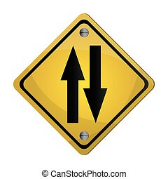 two way street traffic sign icon - flat design two way...