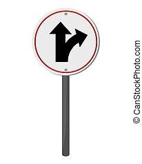bifurcação, tráfego, sinal, ícone