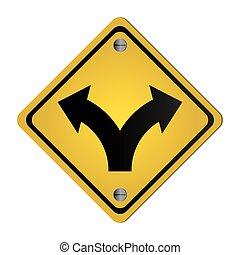 bifurcação, tráfego, sinal,...