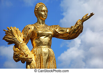 """Monument \""""The collective farmer with wheat\"""". VDNH. Russia."""