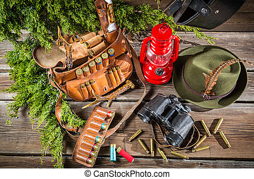 Forester lodge full of equipment for hunting