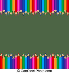 Colored Pencils Frame Template