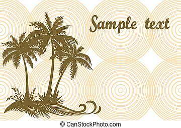 Tropical Palms and Grass Silhouettes - Tropical Landscape,...