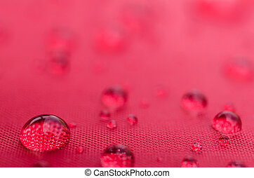 Water droplets on is fiber Waterproof fabric colorful
