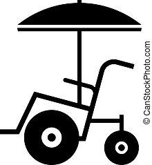 Beach wheelchair, shade picture