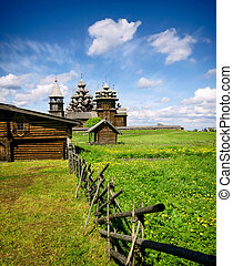 Traditional wooden Russian church on the island of Kizhi -...