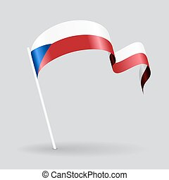 Czech wavy flag. Vector illustration. - Czech pin icon wavy...
