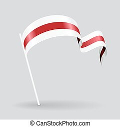 Belarus wavy flag. Vector illustration. - Belarus pin icon...