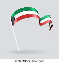 Kuwait wavy flag. Vector illustration. - Kuwait pin icon...