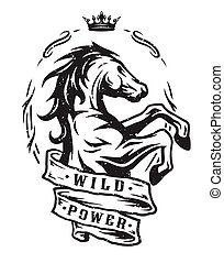 Wild horse. Vintage emblem. - Wild horse and ribbon for...