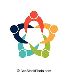 Teamwork icon. Abstract people and support design. Vector...