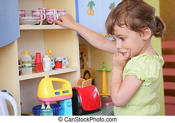 pensando, menina, jovem, cozinha