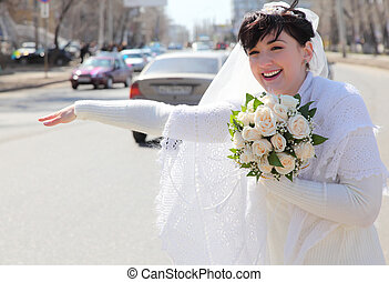 bride on street stops car