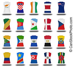 compilation of nationals flag shirt icon on white background...