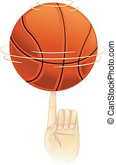 Basketball spinning on top of index - Vector Illustration of...