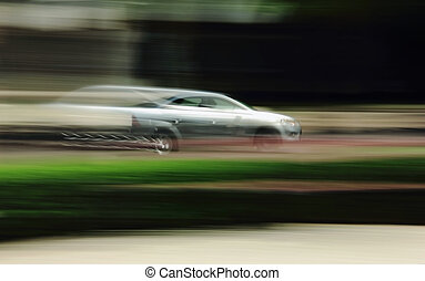 the car goes on shooting speed blur