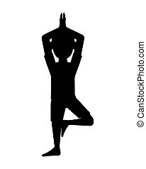 man in yoga pose silhouette icon