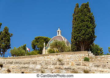 Dominus Flevit Roman Catholic church on the Mount of Olives...