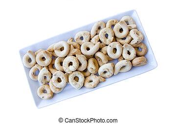 sobre, Rosquillas de pan, cerámico, Plano de fondo, vistos, blanco, bandeja
