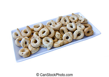 Rosquillas de pan, cerámico, bandeja, blanco, Plano de fondo
