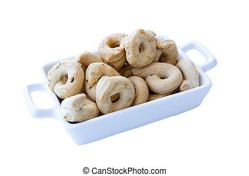 Rosquillas de pan, cerámico, Plano de fondo, pequeño, blanco, bandeja