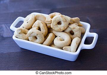 de madera, Rosquillas de pan, cerámico, pequeño, tabla, bandeja