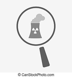 Isolated magnifier icon with a nuclear power station -...