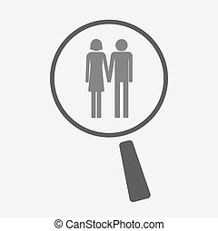 Isolated magnifier icon with a heterosexual couple pictogram...