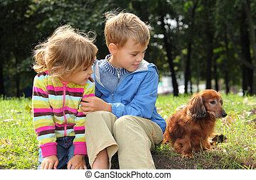 Children with dachshund sit on grass