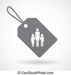 aislado, etiqueta, con, Un, hembra, solo, padre, familia,...