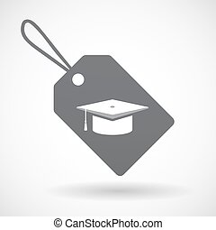 Isolated label with a graduation cap