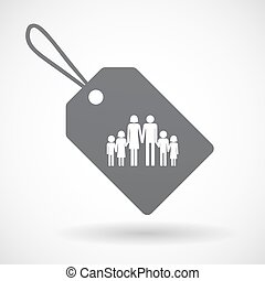 Isolated label with a large family pictogram - Illustration...