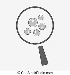 Isolated magnifier icon with oocytes - Illustration of an...