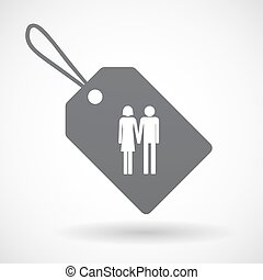 Isolated label with a heterosexual couple pictogram -...