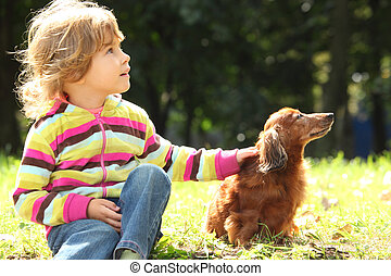 little girl with dachshund sits on grass