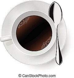 Cup of coffee on white. Vector