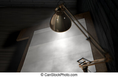 Vintage Desk and Lamp - A 3D rendering of a vintage...