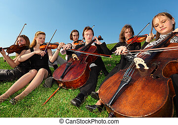 Six violinists sit on grass and play