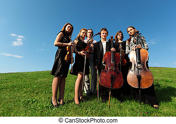 Six violinists stand on  grass against sky, wide angle