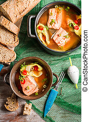 Fish soup with dill and chilli pepper