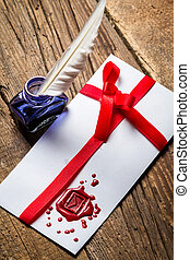 Elegant letter with red sealant and blue ink