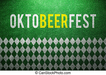 Oktoberfest sign, white and green rhombus pattern,...